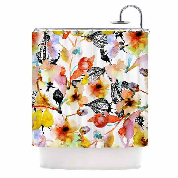 KESS InHouse Liz Perez BLOSSOMS Multicolor Floral Shower Curtain (69x70)