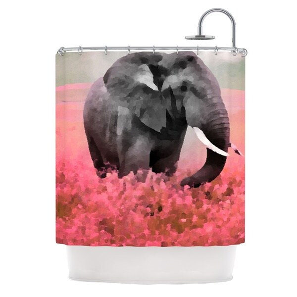 KESS InHouse Oriana Cordero Ele-Phant Pink Gray Shower Curtain (69x70)