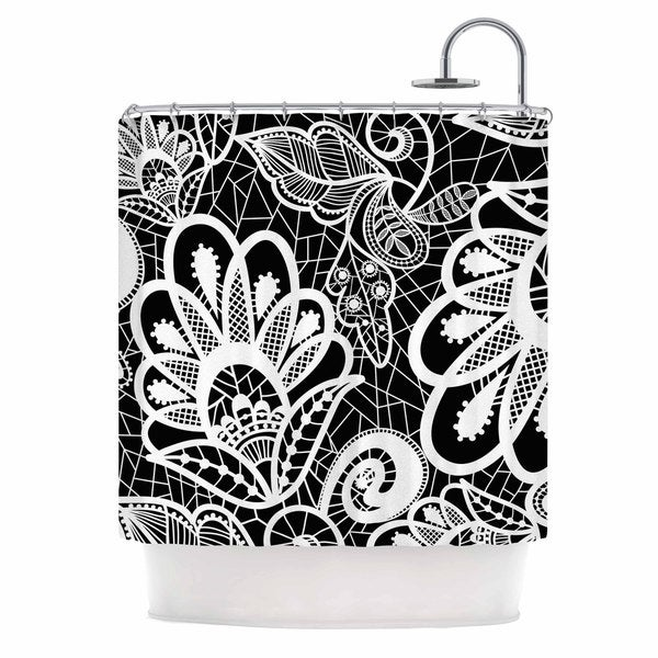 KESS InHouse Petit Griffin Floral Lace BW Abstract Modern Shower Curtain (69x70) - 69 x 70