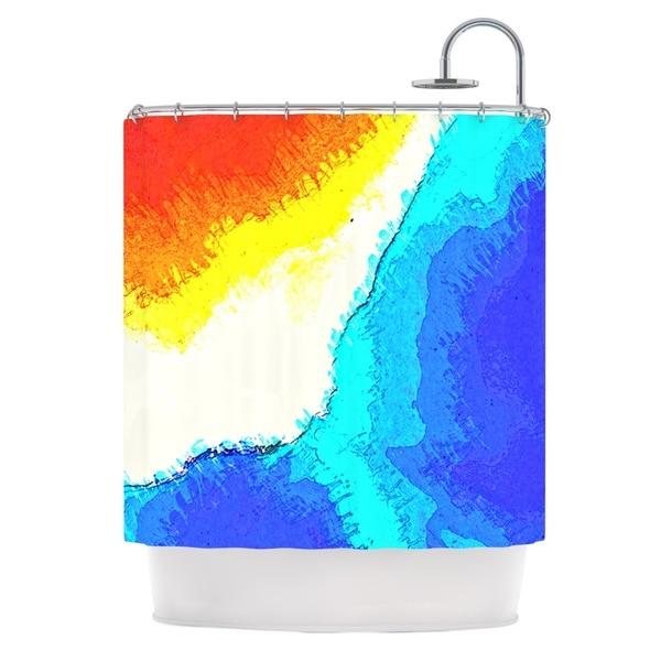 KESS InHouse Oriana Cordero Amalfi Coast Blue White Shower Curtain (69x70)