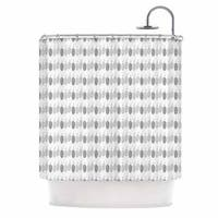 KESS InHouse Petit Griffin Feathers Gray Illustration Shower Curtain (69x70)
