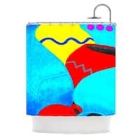 KESS InHouse Oriana Cordero Terracotta Aqua Red Shower Curtain (69x70)