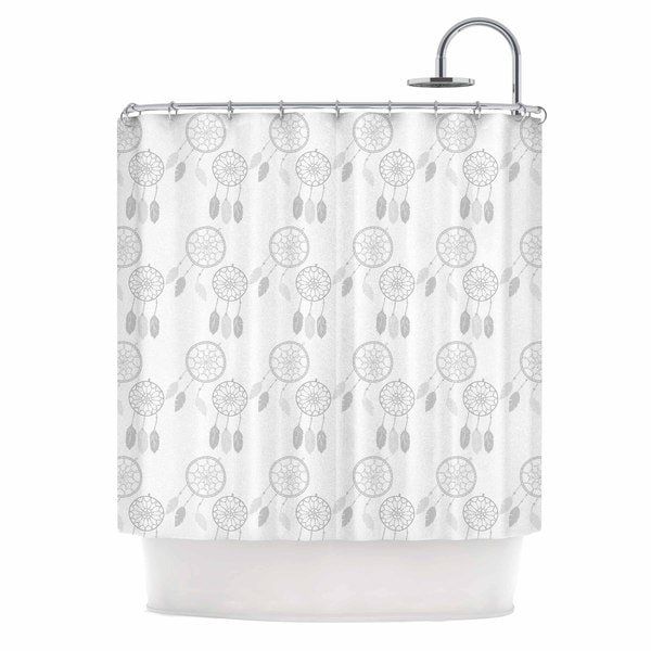 KESS InHouse Petit Griffin Dream Catchers Gray White Shower Curtain 69x70