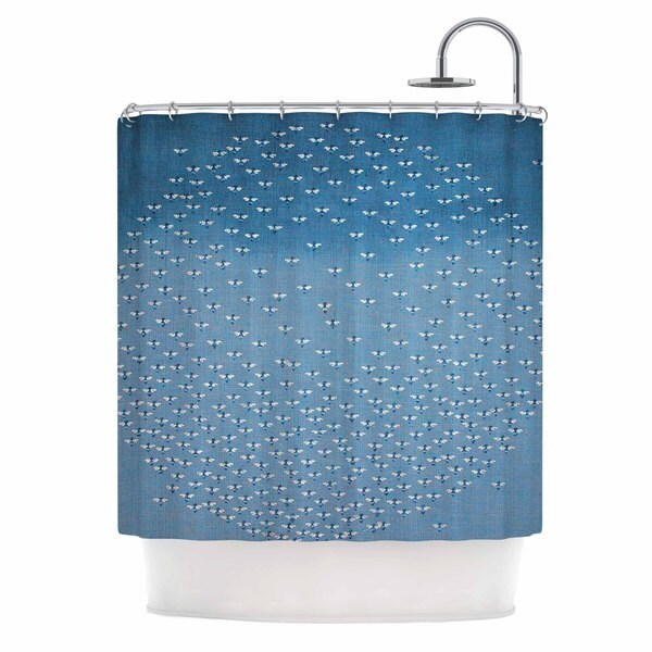 KESS InHouse Laura Nicholson Being Here Blue White Shower Curtain (69x70)