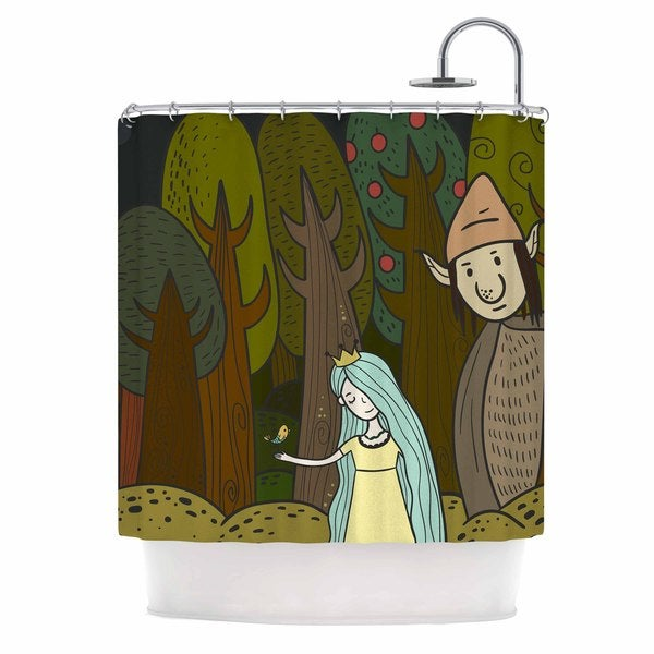 KESS InHouse Petit Griffin Enchanted Forest Green Blue Shower Curtain (69x70)