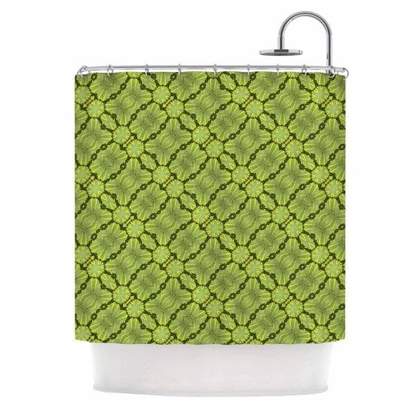 KESS InHouse Laura Nicholson Leafy Lozenges Green Abstract Shower Curtain (69x70)