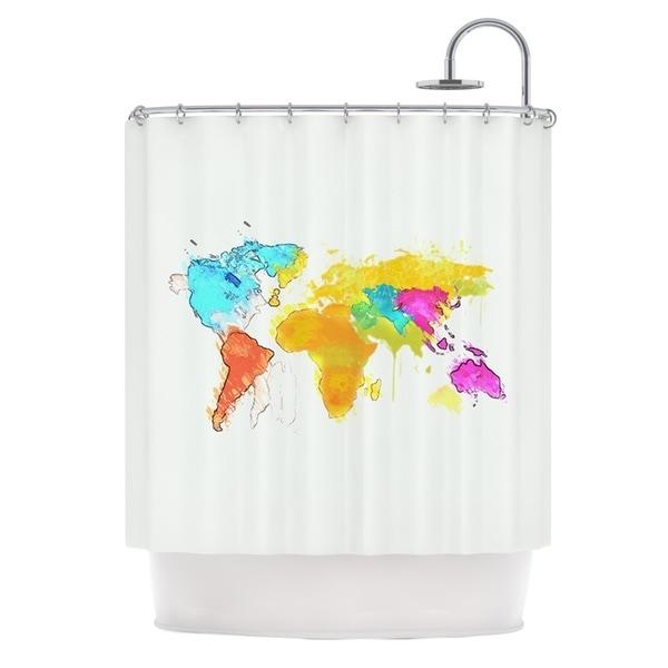 KESS InHouse Oriana Cordero World Map Rainbow White Shower Curtain (69x70)