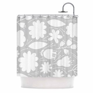KESS InHouse Petit Griffin Leaf Gray Digital Shower Curtain (69x70)
