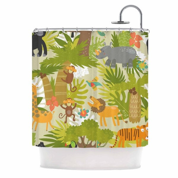 KESS InHouse Petit Griffin Roar Of The Jungle Green Animals Shower Curtain (69x70)