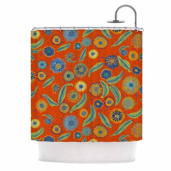 KESS InHouse Laura Nicholson Asters On Scarlet Orange Floral Shower Curtain (69x70)