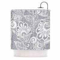 KESS InHouse Petit Griffin Lace Flower Gray White Shower Curtain (69x70)