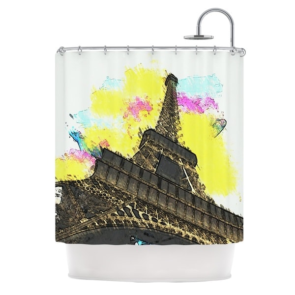 KESS InHouse Oriana Cordero Eifel - Bon Jour Yellow Paris Shower Curtain (69x70)
