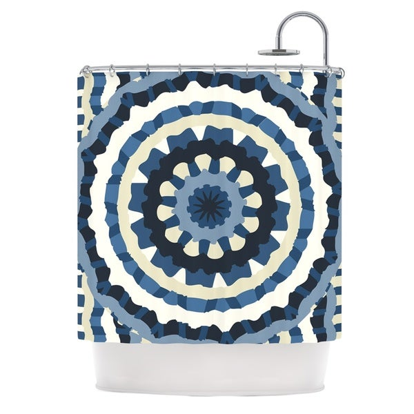 KESS InHouse Laura Nicholson Ribbon Mandala Navy Tan Shower Curtain (69x70)
