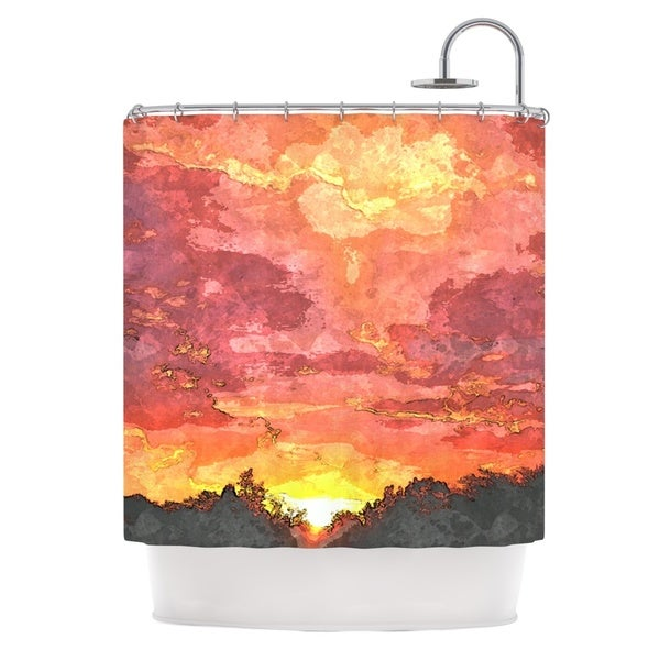KESS InHouse Oriana Cordero Horizon Orange Sky Shower Curtain (69x70)