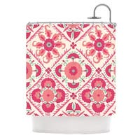 KESS InHouse Laura Nicholson Bukhara Coral Pink Floral Shower Curtain (69x70)