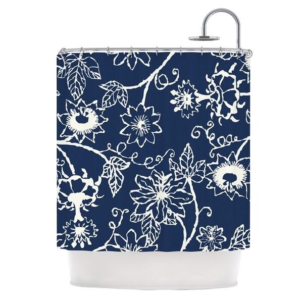 KESS InHouse Laura Nicholson Passion Flower Navy Floral Shower Curtain (69x70)