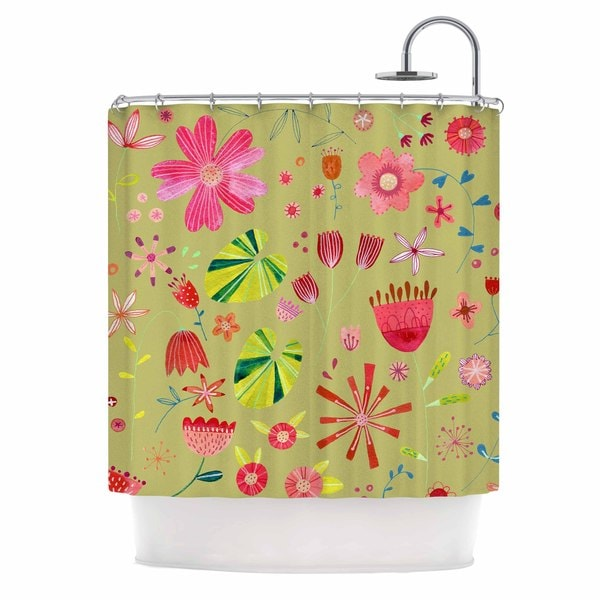 KESS InHouse Nic Squirrell Wild Meadow Olive,Pink,Floral,Digital,Illistration,Red Shower Curtain (69x70)