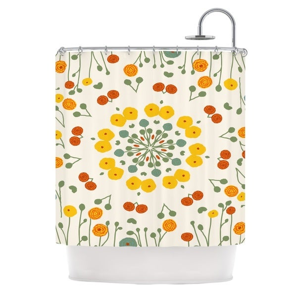 KESS InHouse Laura Nicholson Ranunculas Floral Yellow Shower Curtain (69x70)