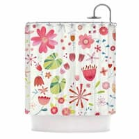 KESS InHouse Nic Squirrell Pressed Wildflowers Green Pink Shower Curtain (69x70)