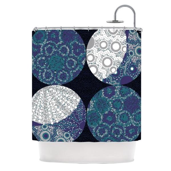 KESS InHouse Laura Nicholson Moons Blue Gray Shower Curtain (69x70)