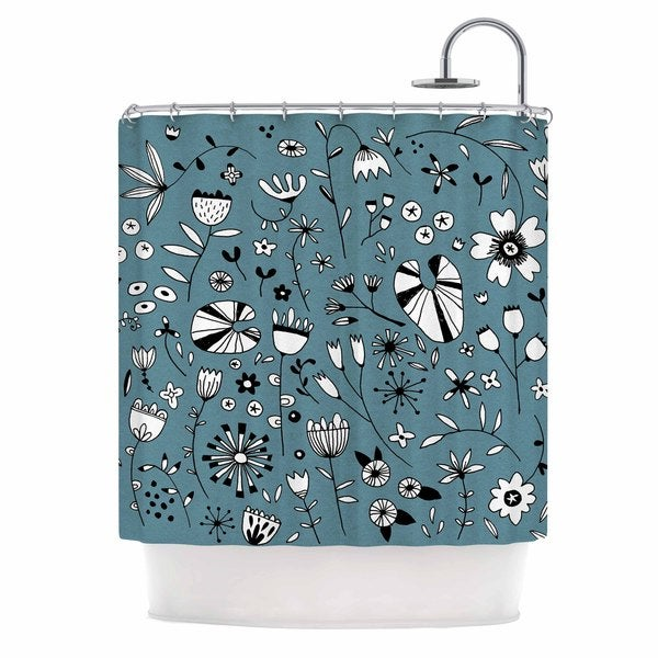 KESS InHouse Nic Squirrell Etched Flowers Blue White Shower Curtain (69x70)