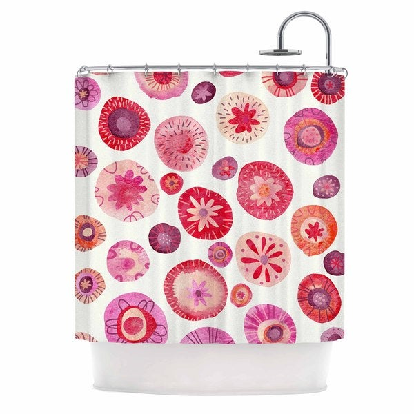KESS InHouse Nic Squirrell All The Flowers Pink Red Shower Curtain (69x70)