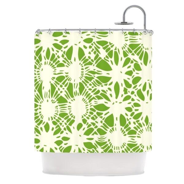 KESS InHouse Laura Nicholson Drawnwork Green White Shower Curtain (69x70)
