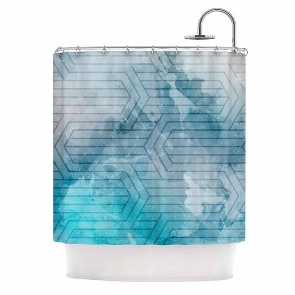 KESS InHouse Matt Eklund Frost Labyrinth Blue White Shower Curtain (69x70)