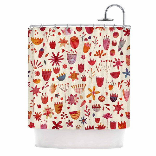 KESS InHouse Nic Squirrell Spring Flowers Pink Red Shower Curtain (69x70)