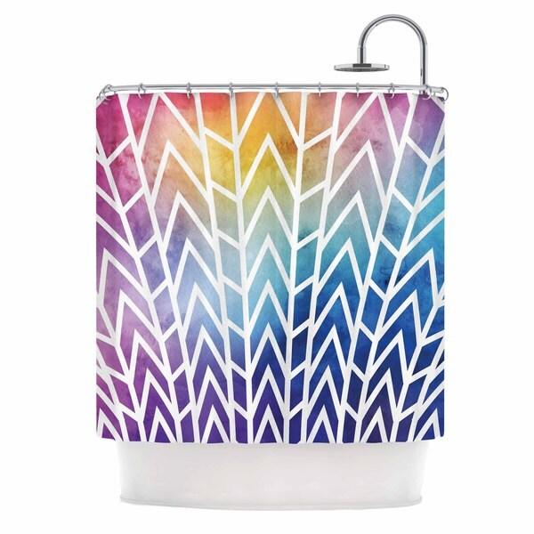 KESS InHouse Matt Eklund Shattering Rainbows Multicolor Abstract Shower Curtain (69x70)