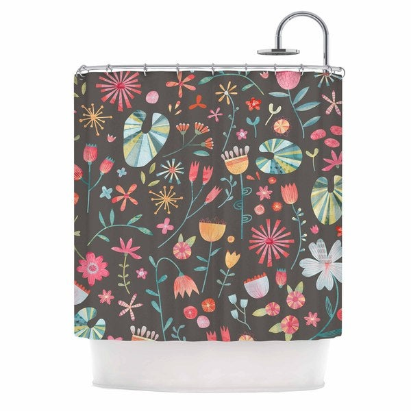KESS InHouse Nic Squirrell Wayside Flowers Multicolor Floral Shower Curtain (69x70)