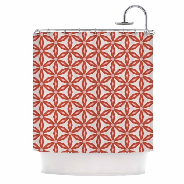 KESS InHouse Nic Squirrell Stars In Circles Red Beige Shower Curtain (69x70)