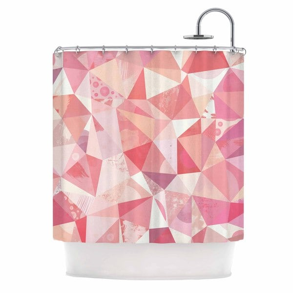 KESS InHouse Nic Squirrell Crumpled Pink,Geometric Shower Curtain (69x70)