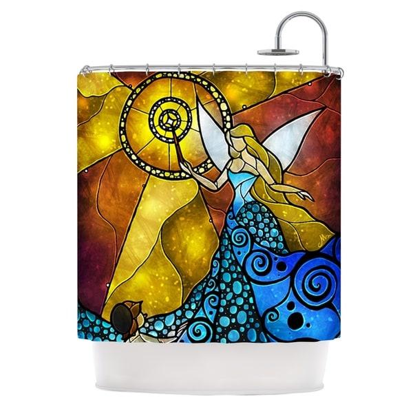 KESS InHouse Mandie Manzano Blue Fairy Aqua Yellow Shower Curtain (69x70)