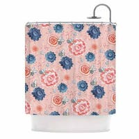 KESS InHouse Nic Squirrell Bees Please Pink Floral Shower Curtain (69x70)