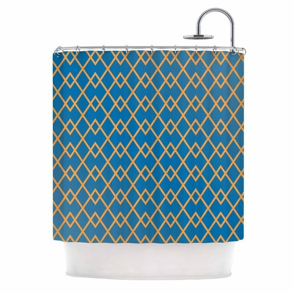 KESS InHouse Matt Eklund Down By The Beach Blue Gold Shower Curtain (69x70)