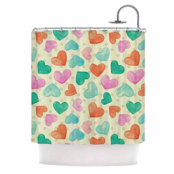 KESS InHouse Louise Machado Watercolor Hearts Multicolor Red Shower Curtain (69x70)