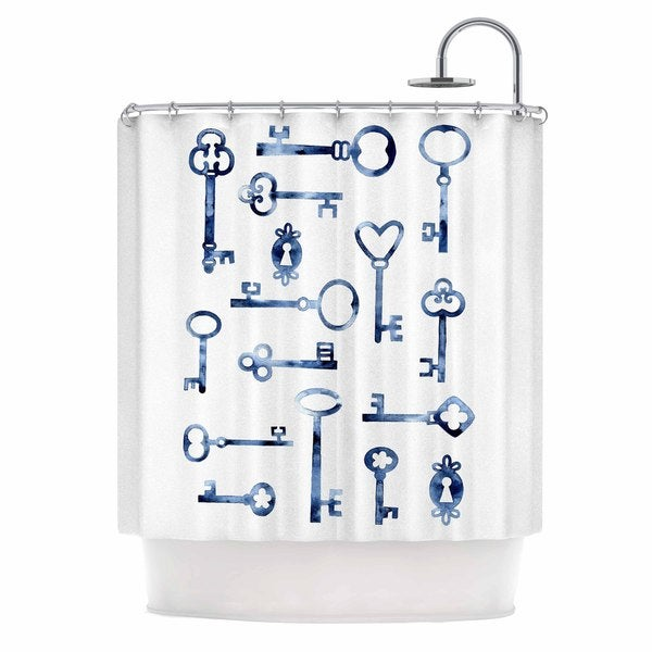 KESS InHouse Nic Squirrell Indigo Keys Blue Illustration Shower Curtain (69x70)