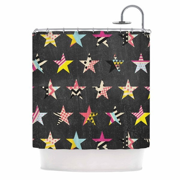 KESS InHouse Louise Machado Dancing Stars Yellow Grey Shower Curtain (69x70)