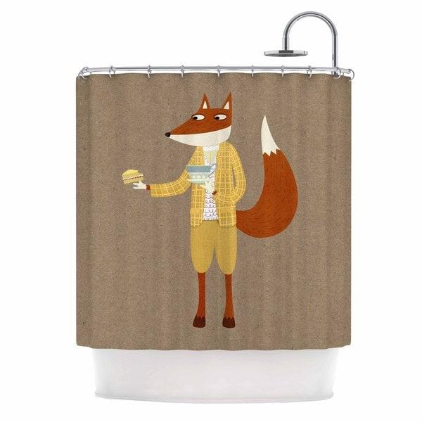 KESS InHouse Nic Squirrell Mr Fox Takes Tea Tan Animals Shower Curtain (69x70)