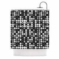 KESS InHouse Nandita Singh White & Black Funny Polka Dots Black Abstract Shower Curtain (69x70)