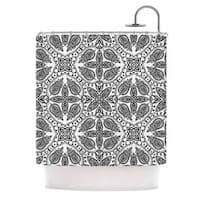 KESS InHouse Nandita Singh Boho In Black And White Grey Pattern Shower Curtain (69x70)