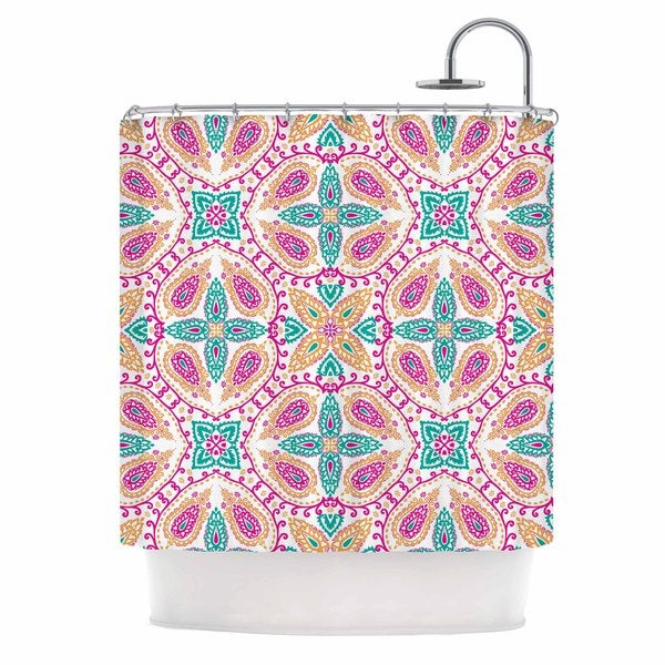 KESS InHouse Nandita Singh Boho In Multicolor Pink Abstract Shower Curtain (69x70)