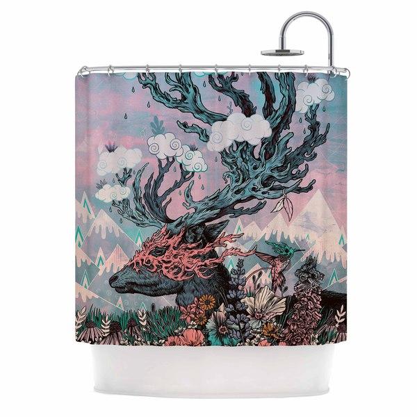 KESS InHouse Mat Miller Journeying Spirit (Deer) Lavender Fantasy Shower Curtain (69x70)