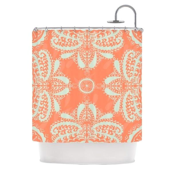 KESS InHouse Nandita Singh Motifs in Peach Orange Floral Shower Curtain (69x70)
