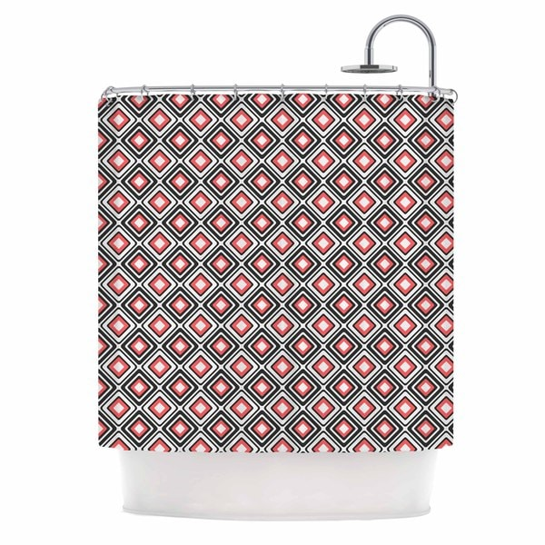 KESS InHouse Nandita Singh Bright Squares-Coral Black Pattern Shower Curtain (69x70)