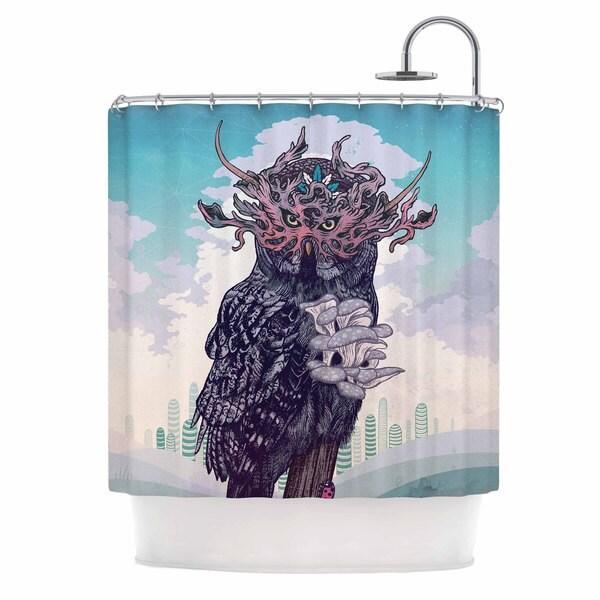 KESS InHouse Mat Miller Journeying Spirit (Owl) Magenta Fantasy Shower Curtain (69x70)