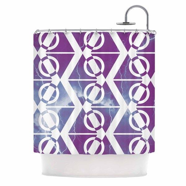 KESS InHouse Matt Eklund Mana Storm Purple White Shower Curtain 69x70
