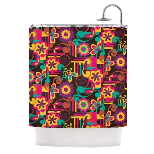 KESS InHouse Louise Machado Arabesque Floral Bright Colorful Shower Curtain (69x70)