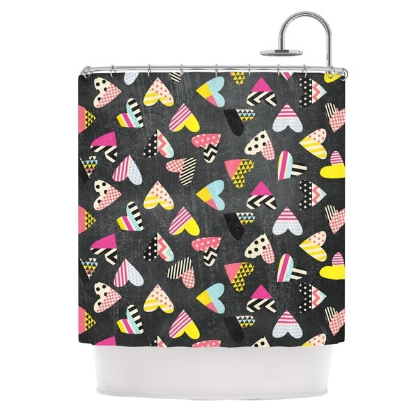KESS InHouse Louise Machado Pieces of Heart Pink Yellow Shower Curtain (69x70)